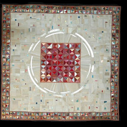 me - lucinda carlstrom - Japanese papers, new and recycled silk and gold leaf sewn in piecework constructions which are framed under glass.