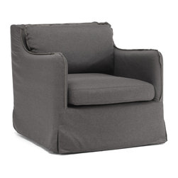 ZUO ERA - Pacific Heights Armchair Charcoal Gray - Shabby, chic and oh so comfy. You'll fall in love with this overstuffed armchair which is available in either beige or charcoal linen. It's low and roomy shape make it the ideal chair for curling up day or night.