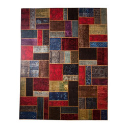 Rug Knots - Traditional Multi Colored Patchwork Rug without Borders 8.17x9.92 - Add flair and fun to a space by displaying this unique patchwork rug. This work of art is composed of different original rugs, knotted together for a stunning result. Colors range from dark wine red to bright azure; neutral greys and beiges help balance out the piece. This handmade rug was produced at the RugKnots facility in Pakistan, and is made of pure wool for ultimate quality and comfort. It would look lovely in a kids' room or casual family room.