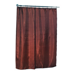 """Standard-Sized Polyester Fabric Shower Curtain Liner in Spice Color - 100% Polyester fabric shower curtain liner with weighted bottom hem in Spice, size 70""""x72"""". Protect your shower curtain using our Standard-Sized (70'' wide x 72'' long) Fabric Shower Curtain Liner. This machine-washable, 100% polyester liner resists water, protecting your favorite shower curtain from water damage without the plastic look of vinyl. Additionally, a weighted hem ensures this liner holds firmly in place each time you shower. You wouldn't even need to bother with a separate shower curtain. Here in Spice, you can find this style liner in a large variety of fashionable colors. Machine wash in warm water, tumble dry, low, light iron as needed"""