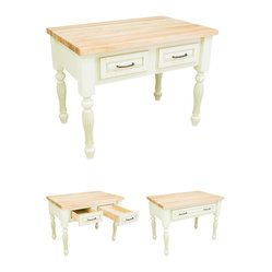 Lyn Design ISL03-AWH White Kitchen Island