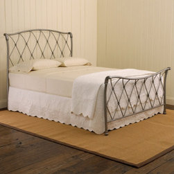 St. Augustine Bed - Its shape reminiscent of a sleigh bed, the St. Augustine Bed is especially beautiful due to it's open latticework design.  The brushed silver finish adds a touch of glamor to this elegant bed.  Though roomy, the open feel of this bed keeps it from weighing down your room.