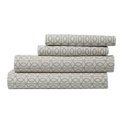 DwellStudio - Gate Sheet Set by DwellStudio - The simple, mod pattern of the DwellStudio Gate Sheet Set reinterprets the classic style of an architectural gate for soft and sophisticated bedding. The set is made out of 200 thread count percale, with an interlocking pattern available in grey Smoke. Comes with one flat sheet, one fitted sheet and two pillow cases. DwellStudio, founded in 1999 by Christiane Lemieux, specializes in home furnishings steeped in modern design. With a unique sense of color and a strong commitment to quality and innovation, DwellStudio continues to create its own distinctive interpretation of modern home furnishings. In the same creative spirit, the company encourages their customers to experiment with mixing various DwellStudio textile lines together.