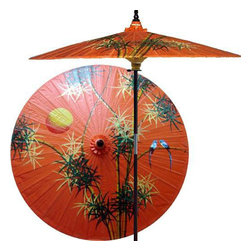 "Oriental-Décor - Bamboo Forest (Passionfruit Orange) - Bamboo holds an important place in Asian culture and art. It is not only practical, but beautiful to look at and is the feature of this exquisite hand-painted outdoor patio umbrella. This special patio umbrella is one of our newest and most unique designs. It is the only umbrella that we carry with a design painted on a passionfruit orange shade. Use it to brighten any outdoor decorative scene.   - 7 foot umbrella pole constructed of rich stained oak hardwood.  - Each umbrella is entirely handcrafted down to the finest detail.  - Oil-treated cotton umbrella shades are all hand-painted by our master artists.  - Dual position shade height allows for full coverage or a better view of the painted shade.  - Waterproof and weatherproof.  - Two-piece pole fastens securely with a polished metal coupling.  - Pole diameter of 1.5"" easily fits into any standard size umbrella base or table.  - Optional umbrella base available - handcrafted from stained oak hardwood"