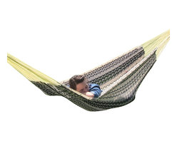 """Sunnydaze Decor - XXL Thick Cord Mayan Hammock, Black & Natural - Overall Length 13'1"""" x Width 7'6"""" Dimensions of the bed itself is 6'7"""" in length and 7'6"""" in width Maximum Carrying Capacity: 880 lbs"""