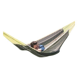 "Sunnydaze Decor - XXL Thick Cord Mayan Hammock, Black & Natural - Overall Length 13'1"" x Width 7'6"" Dimensions of the bed itself is 6'7"" in length and 7'6"" in width Maximum Carrying Capacity: 880 lbs"