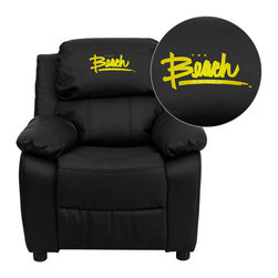 "Flash Furniture - California State University Long Beach 49ers Black Leather Kids Recliner with St - Get young kids in the college spirit with this embroidered college recliner. Kids will now be able to enjoy the comfort that adults experience with a comfortable recliner that was made just for them! This chair features a strong wood frame with soft foam and then enveloped in durable leather upholstery for your active child. This petite sized recliner features storage arms so kids can store items away and retrieve at their convenience. California State University - Long Beach Embroidered Kids Recliner; Embroidered Applique on Headrest; Overstuffed Padding for Comfort; Easy to Clean Upholstery with Damp Cloth; Flip-Up Storage Arms; Storage Arm Size: 3.25""W x 6""D x 11""H; Solid Hardwood Frame; Raised Black Plastic Feet; Intended use for Children Ages 3-9; 90 lb. Weight Limit; Black LeatherSoft Upholstery; LeatherSoft is leather and polyurethane for added Softness and Durability; CA117 Fire Retardant Foam; Safety Feature: Will not recline unless child is in seated position and pulls ottoman 1"" out and then reclines; Overall dimensions: 25""W x 26"" - 39""D x 28""H"