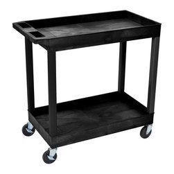 Luxor Furniture - Luxor Two Shelf Utility Cart - Ergonomic push handle molded into top shelf. 4 in.  full swivel casters, two with locking brake. 400 lb. weight capacity (evenly distributed). 18 in. D x 35¼ in. W x 34¼ in. H. 2 1/2 in.  deep tub shelves are 22½ in.  apart. Tub shelves that are 18 in. D x 32 in. W. . Assembly Required. Easy assembly.. Made in USA.The Luxor E Series utility carts are made of high density polyethylene structural foam molded plastic shelves and legs that won't stain, scratch, dent or rust.