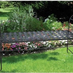 Isabella's Journey Veranda Collection Garden Terrace Bench - I really like the styling of this metal garden bench with turned arms. It has a very light and graceful look.