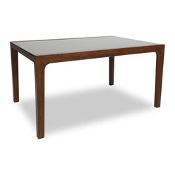 Bryght - Cole Glass Cocoa Dining Table For 6 - The Cole glass dining table is a versatile and beautiful contemporary design. Built to last with sturdy solid wood legs and thick tempered glass top on a wooden base.