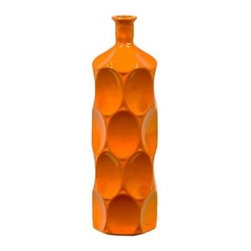 "Benzara - Ceramic Bottle With Circular Embedded Design Body in Orange (Small) - A multiversatile decor item that will enhance and accentuate your interior decor, the Unique Ceramic Bottle With Thin Mouth and Circular Embedded Design Body in Orange (Small) features a lovely slim mouth and a stylish circular embedded design on its body. This ceramic bottle can be used as a standalone decor item or be paired with flowers to decorate and add color to your mantle place, desk or table. The dimensions of the Unique Ceramic Bottle With Thin Mouth and Circular Embedded Design Body in Orange (Small) are 4""x14""H. Ceramic; Orange; 4""x14""H; Dimensions: 0""L x 4""W x 14""H"