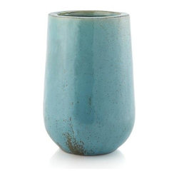 Jada Small Planter - Artisanal application of robin's egg blue glazes tall, rounded urns in lustrous color that enhances plantings of trailing vines or colorful flowers.