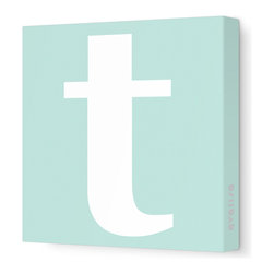 "Avalisa - Letter - Lower Case 't' Stretched Wall Art, 12"" x 12"", Sea Green - Spell it out loud. These lowercase letters on stretched canvas would look wonderful in a nursery touting your little one's name, but don't stop there; they could work most anywhere in the home you'd like to add some playful text to the walls. Mix and match colors for a truly fun feel or stick to one color for a more uniform look."