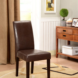 None - K&B Brown Leatherette Parson Chairs - Add traditional style to your home with these sleek faux-leather Parson chairs. Featuring espresso finish solid wood legs and a brown faux-leather upholstery, this set of two chairs will add seating and depth to your dining room decor.