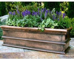 Estate Window Box in Traditional Copperglass - These estate window boxes come in traditional copperglass, they provide a stately feel.  They retail for $285.58 with free shipping from http://www.windowboxplanters.com