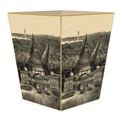 Marye-Kelley - View of Washington D.C. Antique Map Wastebasket - View of Washington D.C. Antique Map Wastebasket