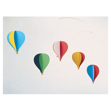Flensted Mobiles - Balloon Mobile, Set of 5 - Let your imagination take flight with this colorful mobile. Inspired by the montgolfières of 18th-century France and modern hot air balloons of today, five balloons soar above with the faintest puff of air.