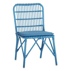 Kruger Turkish Tile Dining Chair with Sunbrella® Turkish Tile Cushion - Safari casual tracks contemporary in bamboo-inspired lattice design handwoven of Turkish tile blue resin wicker over powdercoated aluminum. Lightweight chair is perfectly scaled for small sunrooms, patios or porches. Easy-care Sunbrella® acrylic matching cushion is fade-, water- and mildew-resistant.