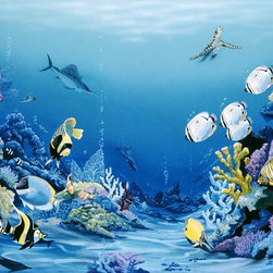 Murals Your Way - Reef Delight Wall Art - Easier to install and maintain than a saltwater fish tank, this wall mural of a tropical reef will allow you to experience the beauty of life