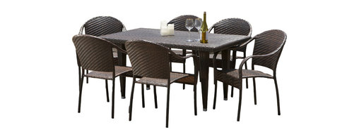 Great Deal Furniture - Livingston 7-pieces Outdoor Wicker Dining Set - The Livingston 7-pieces Outdoor Wicker Dining Set is a stylish dining table, made of durable all-weather PE wicker. It comfortably seats six but still offers an intimate setting suitable for a romantic meal. Our beautiful, one-of-a-kind wicker provides an aesthetic appeal that makes the table and chairs fit the most formal, most casual, and all decors in between. The rich, natural color of the wicker will fit with any nearby landscape, pool area or inside a screened porch.