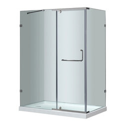 """Aston - Aston 60x35x77.5, Semi-Frameless Shower, Chrome with Left Shower Base - A modern bath fixture that is as luxurious as it is practical; the SEN975 semi-frameless hinge pivot enclosure is the perfect solution for an upcoming remodel project. With 3/8"""" (10mm) ANSI-certified tempered clear glass, chrome or stainless steel finish hardware, clear premium leak-seal strips, durable steel supports and an optional 2.5"""" low profile fiberglass-reinforced shower base, you will experience the stability and support you desire. This model includes a 2.5"""" low-profile acrylic fiberglass-enforced base."""