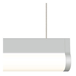 Edge Lighting - Cirrus Channel Suspension T1 Lens 2.5 Watt 24VDC - Cirrus Channel Suspension features a T1 tubular 1 1/8 inch flat linear lens with 100 degree beam spread. At 2.5 watts per foot, the 24 volt DC Cirrus Channel suspension contains 2700K Very Warm White or 3000K Warm White LEDs, 95+ CRI, 61 lumens per watt. 50,000 hour average lamp life. Available in a 2.5 watt and 5.5 watt per foot version. Finish available in Satin Aluminum,Satin Nickel, Chrome, Antique Bronze, Satin Black Anodized or White powder coated options. Hardware and supporting cables are Antique Bronze for Antique Bronze and Black finishes and Satin Nickel for all other finishes. Power cables are Satin Nickel for all finish options. Supplied with a 4.6 inch square canopy, 12 foot power cable for every run, and suspension cables for support every five feet. Can also be used with a 2.8 inch square or round canopy, sold separately. It feeds power at the end using a standard junction box and must be wired into a Class 2 power supply, sold separately, up to 40 feet away. The system is available from 12 inches up to 480 inches. May be ordered in 3, 5, 8 or 10 inch increments. Lengths greater than 120 inches will ship as two or more segments that join together. Swag hook available to extend cable to an electrical box not located directly above desired fixture location. 0-10 power supplies include a 24VDC 25 watt, 96 watt, or 192 watt power supply, dimmable with a 0-10 volt dimmer (recommended Philips Sunrise SR1200ZTUNV), sold separately. ELV power supplies include a 100 or 2X100 watt power supply, dimmable with a low voltage electronic dimmer (recommended Legrand Adorne ADTP703TU, Lutron DIVA DVELV-300P, Lutron Skylark SELV-300P, Lutron Maestro MAELV-600, or Lutron Radio Ra 2), sold separately. For indoor applications only. Made in USA. ETL listed. Fixture includes a 5 year warranty.