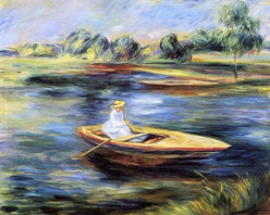 """Pierre Auguste Renoir Young Woman Seated in a Rowboat   Print - 16"""" x 20"""" Pierre Auguste Renoir Young Woman Seated in a Rowboat premium archival print reproduced to meet museum quality standards. Our museum quality archival prints are produced using high-precision print technology for a more accurate reproduction printed on high quality, heavyweight matte presentation paper with fade-resistant, archival inks. Our progressive business model allows us to offer works of art to you at the best wholesale pricing, significantly less than art gallery prices, affordable to all. This line of artwork is produced with extra white border space (if you choose to have it framed, for your framer to work with to frame properly or utilize a larger mat and/or frame).  We present a comprehensive collection of exceptional art reproductions byPierre Auguste Renoir."""