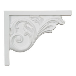"""Ekena Millwork - 8 3/4""""W x 7 5/8""""H x 5/8""""D Bremen Acanthus Stair Bracket, Right - With the beauty of original and historical styles, decorative stair brackets add the finishing touch to stair systems.  Manufactured from a high density urethane foam, they hold the same type of density and detail as traditional plaster stair bracket products.  They come factory primed and can be easily installed using standard finishing nails and/or polyurethane construction adhesive."""