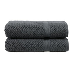 Linum Home Textiles - Linum Home Textiles Gray Herringbone Weave Bath Towels - Set of 2 - HN-HB95-2BT - Shop for Towels from Hayneedle.com! The Linum Home Textiles Gray Herringbone Weave Bath Towels - Set of 2 provide a paired set of plush bath towels that's a welcome addition to any bathroom decor. Both towels are made from an extra-thick weave of 100% genuine Turkish cotton featuring a deep rich gray color and a Jacquard-woven herringbone surface pattern (with a dobby-weave design around the border stripe). The towels are both soft and absorbent and will remain so with proper care made simple by a machine-washable design. Just follow the instructions on the label to keep the towels good-as-new for years to come.About Linum Home Textiles Established with the intent to produce and sell Turkish home textile products and traditional items such as Pestemal (waistcloth) bath robes and scrub mittens Linum Home Textiles is an international company headquartered in Istanbul Turkey and the U.S. Linum Home Textiles' mission is to provide customers with premium products exceptional quality and beauty.