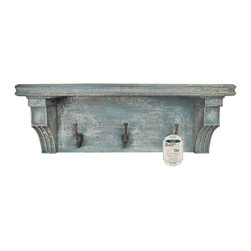 "Enchante Accessories Inc - Distressed Rustic Solid Wood Vintage Wall Shelf with Hooks (Distressed Blue) - These rustic shelfs feature distressed solid wood constructionVintage solid wooden shelf with casual country feelPerfect for""adding""function to your foyer or mud roomHanging hardware includedMeasures 27 in. Wide x 8 in. High x 7 in.DAn attractive and functional wall-mounted distressed Shabby Chic shelf for the home. Great for adding a touch of elegance for the home entry. These shelves are built out of pine in an antique, distressed fashion. This means that they have knots, imperfections, nail holes of the wood left in them so that they have an old appearance, even with the plain color of paint. Great for that ""worn"" look.. No assembly required. Mounting hardware included."