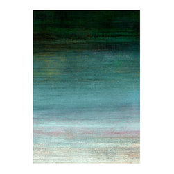 Quartered II Unframed Giclee with Brush Gel Finish - A rich ombre of turquoise hues fades from the near-black of a dark woodland pool at the top to the clear, gentle shade of sunlit mist at the bottom.  Quartered II is a superb expression of a simple concept elevated to an abstract artwork. The fade from one shade to the next is subtle and continuous, bringing a note of softness into the bold transitional statement of this giclee print.