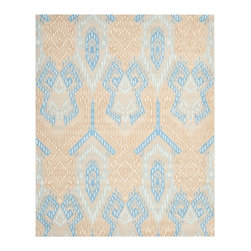 Safavieh - Clare Hand Tufted Rug, Beige / Blue 8' X 10' - Construction Method: Hand Tufted. Country of Origin: India. Care Instructions: Vacuum Regularly To Prevent Dust And Crumbs From Settling Into The Roots Of The Fibers. Avoid Direct And Continuous Exposure To Sunlight. Use Rug Protectors Under The Legs Of Heavy Furniture To Avoid Flattening Piles. Do Not Pull Loose Ends; Clip Them With Scissors To Remove. Turn Carpet Occasionally To Equalize Wear. Remove Spills Immediately. Safavieh's artistry is vividly displayed in the Wyndham collection with designs ranging from contemporary florals to traditional global motifs. Each richly-hued rug is hand-tufted by master weavers in India of top quality wool. Several designs recreate the one-of-a-kind look of fashionable over-dyed antique rugs using a special multi-colored yarn that is meticulously colored using ages-old pot dyeing techniques. After the dye is carefully applied to each strand of wool, touches of organic viscose are added for soft silky luster as special highlights accents.