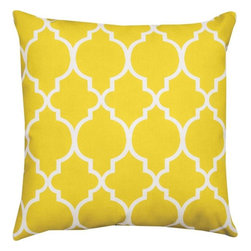 Manual - Pair of Bright Yellow and White Marrakesh Print Indoor / Outdoor Throw Pillow - This pair of 18 inch by 18 inch woven throw pillows adds a wonderful nautical accent to your home or patio. The pillows have (No Suggestions) weatherproof exteriors, that resist both moisture and fading. The pillows feature the same bright yellow and white Marrakesh print on both front and back. They have 100% polyester stuffing. These pillows are crafted with pride in the Blue Ridge Mountains of North Carolina, and add a quality accent to your home.