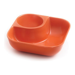 Outset Little Dipper Snack Bowl Tangerine Orange - Are you the kind of party guest who doesn't like to share his snacks? Now you can grab your grub and take off to find a defensible position. These individual bowls have a section for snacks and one for your favorite dipping sauce or condiment. They're fully stackable when not in use  and made of 1OO% FDA approved Melamine for durability and safety.Product Features                                   100% FDA approved Melamine            Individual snack bowl with room for dip            Fully Stackable            Dishwasher-safe
