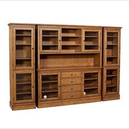 Tucker Wall Unit, 1 Buffet, 1 Hutch & 2 Towers, Rustic Pine finish - Create a wall of cabinetry with the look of a built-in with our Tucker Wall Unit. The generously scaled buffet offers ample space for organizing dining essentials. Add the hutch for a dramatic display. 111.5'' wide x 16.5'' deep x 75'' high Crafted of hardwood and veneers. Hand finished in black, mahogany or rustic pine. Catalog / Internet Only. View our {{link path='pages/popups/fb-dining.html' class='popup' width='480' height='300'}}Furniture Brochure{{/link}}.