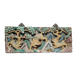 Golden Lotus - Chinese Vintage Handmade Relief Carving 3 Foo Dogs Motif Decorative Panel - This vintage decorative panel has very complicated relief carving with a motif of 3 Foo Dogs Playing in the Mountain.