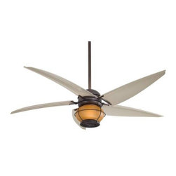 Minka Aire - Minka Aire Magellan Ceiling Fan in Oil Rubbed Bronze - Minka Aire Magellan Model F579-ORB in Oil Rubbed Bronze with Parchment Finished Blades. Integrated Light Fixture with Vintage Amber Seeded Glass for The Magellan.