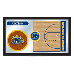 "Holland Bar Stool - Holland Bar Stool Kent State Basketball Mirror - Kent State Basketball Mirror belongs to College Collection by Holland Bar Stool The perfect way to show your school pride, our basketball Mirror displays your school's symbols with a style that fits any setting.  With it's simple but elegant design, colors burst through the 1/8"" thick glass and are highlighted by the mirrored accents.  Framed with a black, 1 1/4 wrapped wood frame with saw tooth hangers, this 15""(H) x 26""(W) mirror is ideal for your office, garage, or any room of the house.  Whether purchasing as a gift for a recent grad, sports superfan, or for yourself, you can take satisfaction knowing you're buying a mirror that is proudly Made in the USA by Holland Bar Stool Company, Holland, MI.   Mirror (1)"