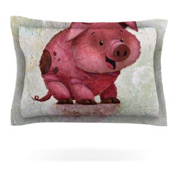 "Kess InHouse - Rachel Kokko ""This Little Piggy"" Pink White Pillow Sham (Cotton, 30"" x 20"") - Pairing your already chic duvet cover with playful pillow shams is the perfect way to tie your bedroom together. There are endless possibilities to feed your artistic palette with these imaginative pillow shams. It will looks so elegant you won't want ruin the masterpiece you have created when you go to bed. Not only are these pillow shams nice to look at they are also made from a high quality cotton blend. They are so soft that they will elevate your sleep up to level that is beyond Cloud 9. We always print our goods with the highest quality printing process in order to maintain the integrity of the art that you are adeptly displaying. This means that you won't have to worry about your art fading or your sham loosing it's freshness."