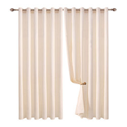 Bed Linens - Blackout Panel, Ivory - Solid 100% Cotton Curtain Grommet Panel