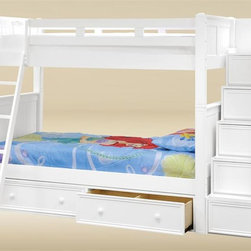 Bunk Beds - Are you looking for to maximize the space in your kids bedroom? The twin over twin stairway wood bunk bed is the perfect solution. Crafted with solid hardwood and bead board panel and is built to stand up to the demanding use of a young child.