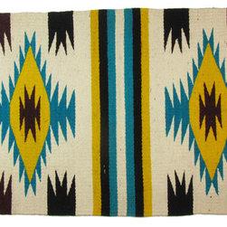 Consigned Yellow, Black, & Teal Navajo Textile - Yellow, Teal, Cream, and Black Navajo weaving circa 1950's.