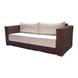 Wicker Paradise - Patio Wicker Sofa - Santa Barbara - For your patio area, make sure to create your favorite grouping around this outdoor wicker sofa. The Santa Barbara collection is woven high density polyethylene on a powder-coated arc welded aluminum frame. Beautiful weaving, 9 Inch thick cushions, and Contemporary styling make this set a must buy. Choose from dozens of designer inspired Sunbrella fabrics. A Wicker Paradise exclusive covered by a 3 year warranty.