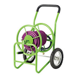 Deluxe Garden Hose Cart - I dig the color of this green powder-coated steel hose cart. I really need to set it up with our tangled mess of a hose. I know it would be love at first sight.
