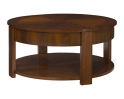 "Hammary - Maxim Round Lift Lid Cocktail Table - ""This sophisticated collection is characterized by bold, ingenous design features of wide banding & cross mullions that align with the legs. Crafted of Poplar Solids with Straight Grain Walnut Veneers in a Russet Brown Walnut finish"