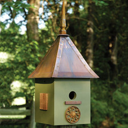 Songbird Suite Bird House - Dark Olive - The Dark Olive finish of this Songbird Suite Bird House will blend well with your back yard or garden. It is constructed of cypress wood with a solid copper roof with lapped trim and cast iron finial and mahogany shutters.