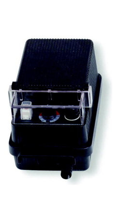Kichler Landscape 12V Transformer Automatic timer - Black Material - Landscape 12V Transformer automatic timer. Photo electric eye. Hi-low-off switch. On-off automatic switch. Thermal cut-off on primary side. Thermal reset breaker on secondary side. with 3`, 3-wire #12-3 sjtw cord. Composite housing. 10-year limited warranty. El core and coil configuration. Suitable for use with submersible fixtures (not suitable for swimming pool or spa fixtures)