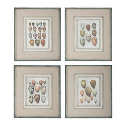 Uttermost - Uttermost 51082 Study of Eggs Framed Art, Set of 4 - Uttermost 51082 Study of Eggs Framed Art, Set of 4These oil reproductions feature a hand applied brushstroke finish and are accented by gray, oatmeal linen mats. Frames have an outer edge in lightly distressed, muted aqua undertones with a heavy charcoal wash.Uttermost 51082 Features: