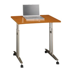 Bush - Bush Series C Adjustable Height Mobile Table in Natural Cherry - Bush - Mobile Laptop Carts - WC72482 - From private offices to workstations, Series C configures in dozens of ways, giving you the flexibility to design your workspace in the way that best suits your working style.