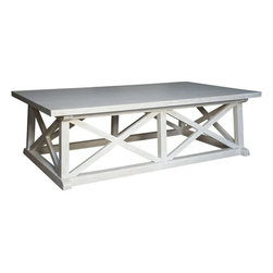 """Noir Trading - Sutton Coffee Table in White Wash Finish - Get the architectural flavor the """"X"""" base offers with the open floor that allows the visual pleasure of that special rug you own.  Made with high quality mahogany wood this piece is offered in a hand rubbed black finish or white washed for a more shabby chic feel.  Either way, you can imagine that well worn, deep seated sofa you just love accented by the timeless and comforting Sutton Coffee Table."""